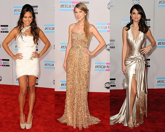 2011 American Music Awards Fashionistas - Vanessa Minnillo, Taylor Swift and Selena Gomez