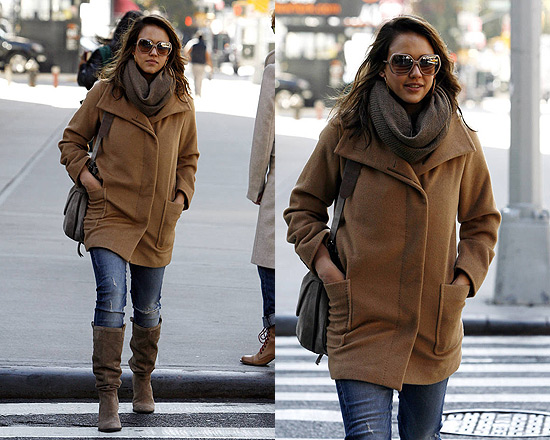 Jessica Alba out in NYC wearing MaxMara Camel Hair Coat
