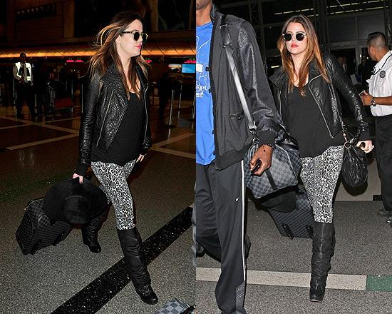 Khloe Kardashian at LAX wearing Rick Owens Crocodile Leather Jacket