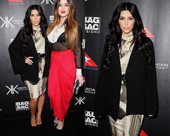 Kim Kardashian attends event in Australia wearing Lisa Ho Flying Arches Dress