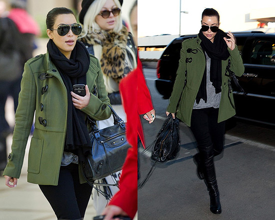 burberry trench coat outlet ozz5  Kim Kardashian wearing Burberry Drop Waist Duffle Trench Jacket