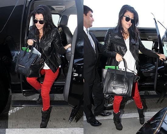 Kourtney Kardashian wearing Burberry London Leather Motorcycle Jacket