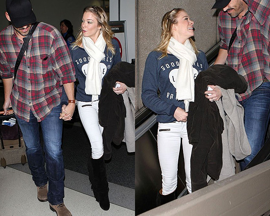 LeAnn Rimes wearing Isabel Marant Suede and Leather Boots at LAX