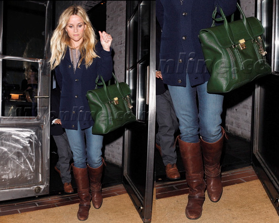 Reese Witherspoon wearing Golden Goose Charlye Pull-On Riding Boots