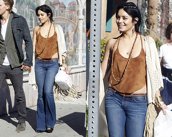 Vanessa Hudgens wearing Free People Suede Crop Tank out in Venice, CA