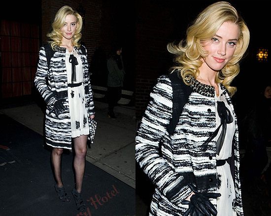 Amber Heard in Proenza Schouler Bouclé Coat with Emroidery