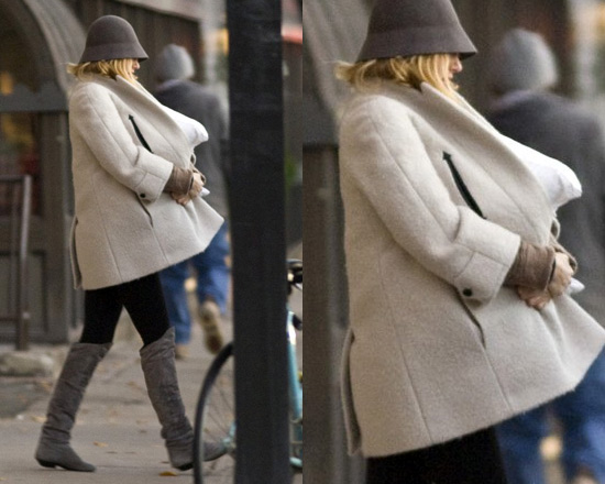 Blake Lively in Carven Alpaca Blend White Coat