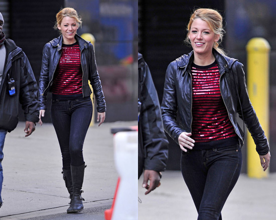 Blake Lively wearing Gryphon Stripe Crew neck Sequin Jumper