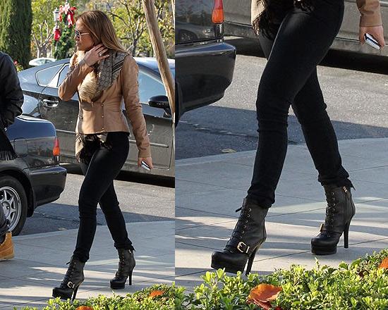 Jennifer Lopez wearing Fendi Lace-Up Belted Boots