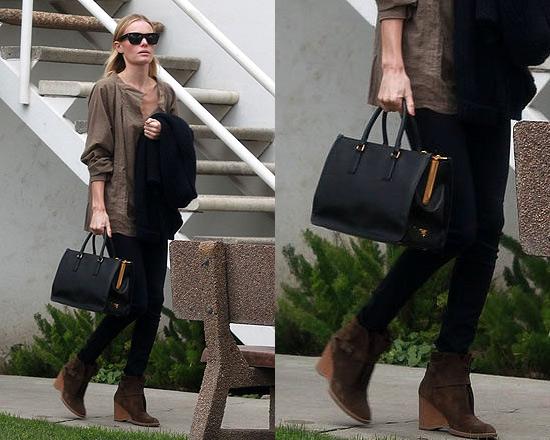 Kate Bosworth Prada Saffiano Lux Top-Handle Open Tote