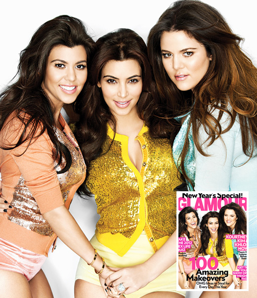 The Kardashian Sisters wearing L'Wren Scott Sequin Classic Cardigans on Glamour Cover