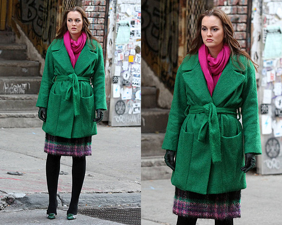 Leighton Meester wearing Diane Von Furstenberg Harrington coat on set of Gossip Girl