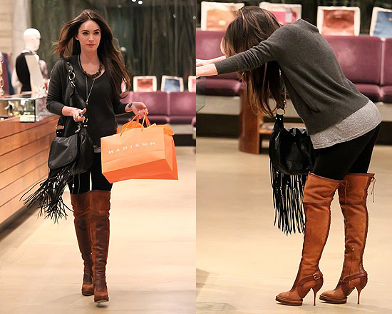 Megan Fox wearing Christian Dior Brown Suede Intrigante Tall Boots