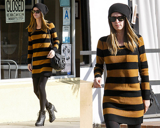 Nicky Hilton in Madewell Striped Lamppost Sweaterdress