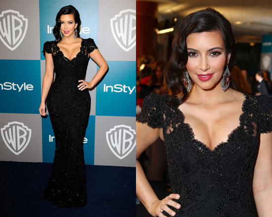 Kim Kardashian in Bruce Oldfield at 2012 Golden Globes After Party