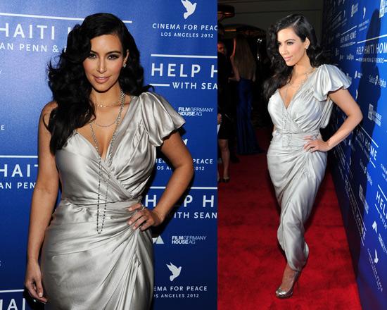 Kim Kardashian attends Haiti event in Lanvin Asymmetric silk-satin wrap gown