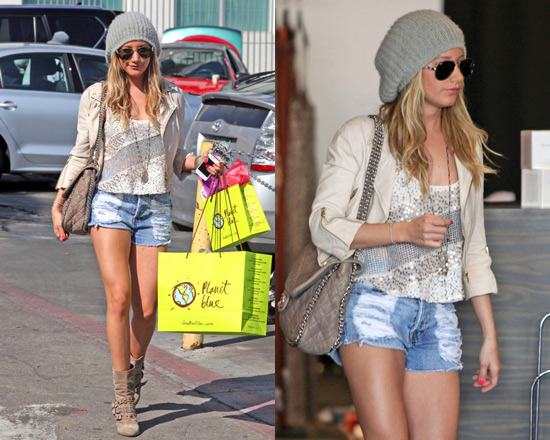Ashley Tisdale in Free People Itsy Bitsy Glitzy Tank
