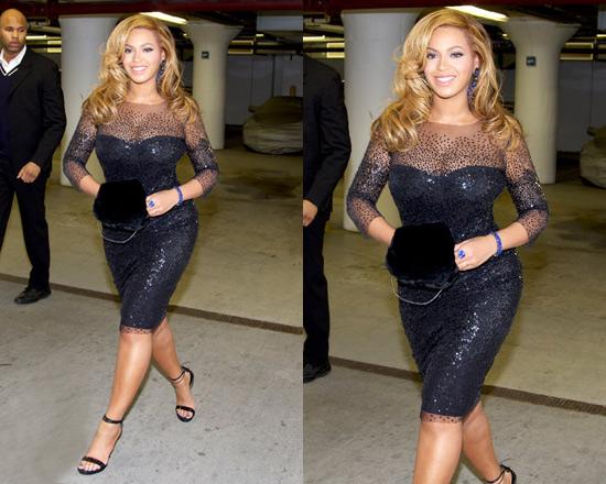 New mom Beyoncé steps out in Monique Lhuillier Sequin Illusion Dress