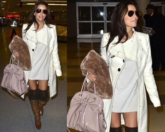 Eva Longoria wearing Rachel Zoe Cheryl Asymmetrical Coat at JFK