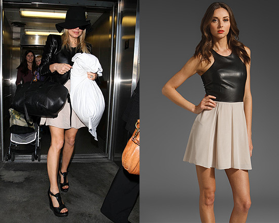 Fergie in Mason by Michelle Mason Silk Dress with Leather Bodice Dress