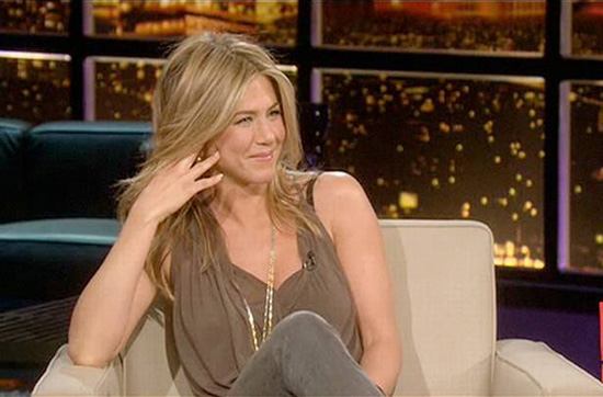 Jennifer Aniston in Helmut Lang Threadbare Crossover Top