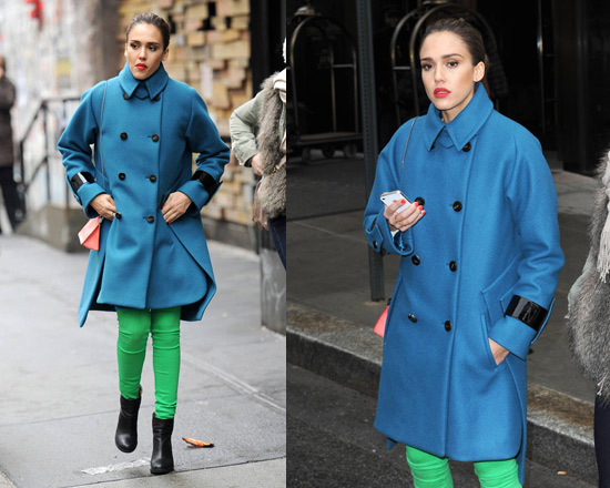 Jessica Alba in Sportmax Blue Ussel Leather Trimmed Coat