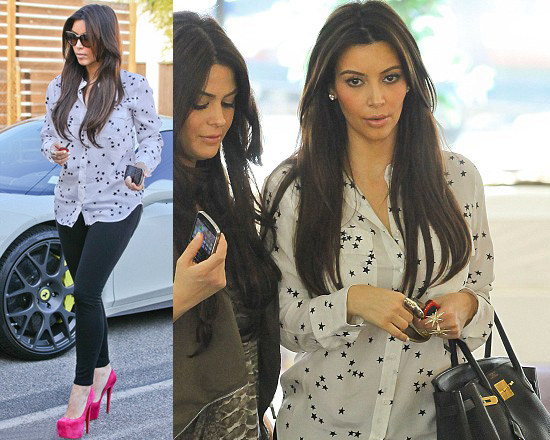 Kim Kardashian steps out in Equipment Star Blouse and Pink Louboutins