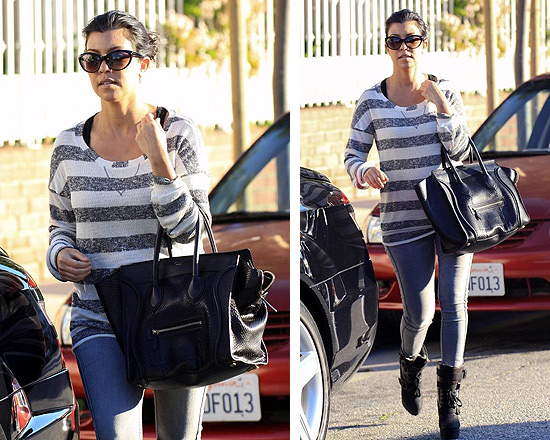 Kourtney Kardashian in Splendid Double Stripe Tunic and Koolaburra Jaden Biker Boots
