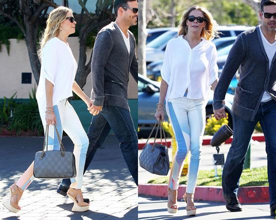 LeAnn Rimes looks great in DVF blouse and Rag & Bone Goetz Print Jeans