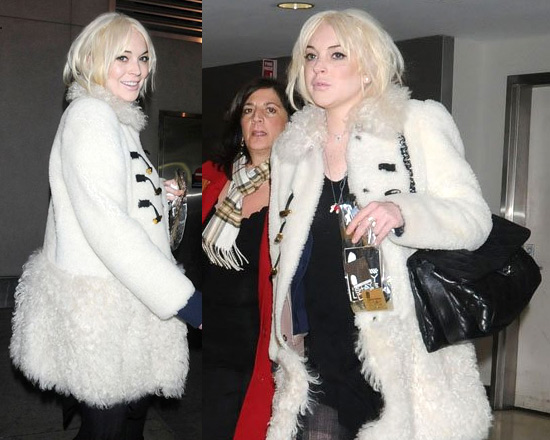 Lindsay Lohan wraps up in Miu Miu Shearling Duffle Coat