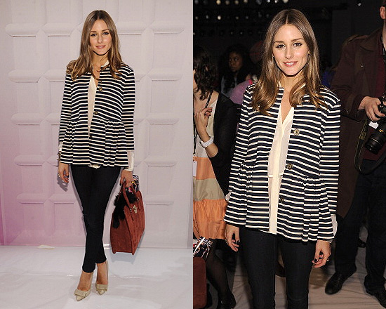 Olivia Palermo at Tibi Fashion Show wearing Tibi and Mulberry