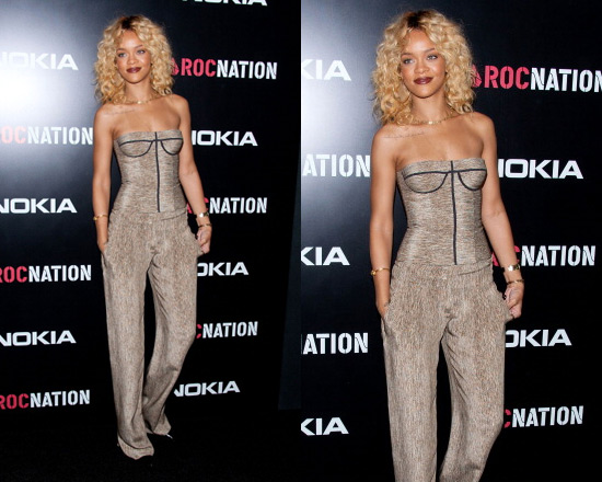 Rihanna attends Pre-Grammy Party in Bottega Veneta Wide Leg Pant and Bustier Top