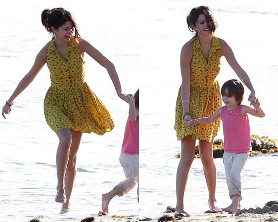 Selena Gomez wearing Daisy Dogs Shirtdress on the beach in Malibu