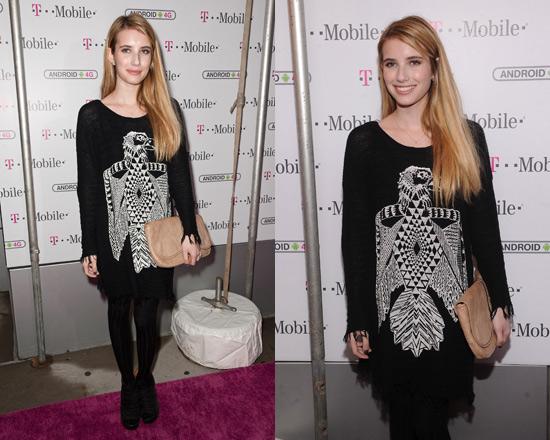 Emma Roberts in Lauren Moshi Vicky Thunderbird Fringe Sweater