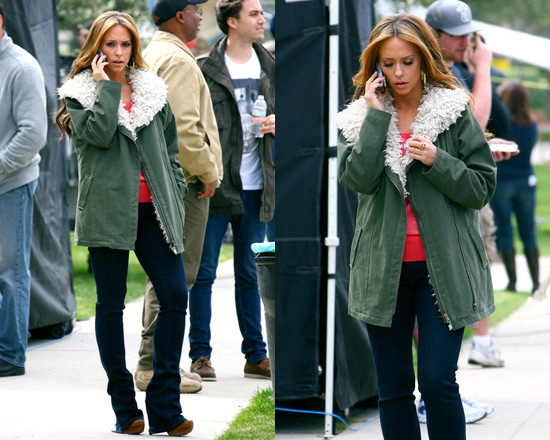 Jennifer Love Hewitt on set wearing Style Stalker Rebellion Parka