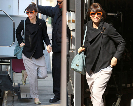 Jessica Biel visits JT on set wearing AllSaints Monument Jacket