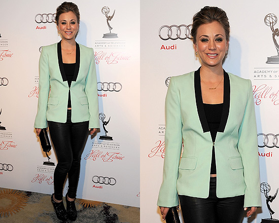 Kaley Cuoco wearing ALC Mint Green Zoe Blazer to 21st Annual Hall of Fame Gala
