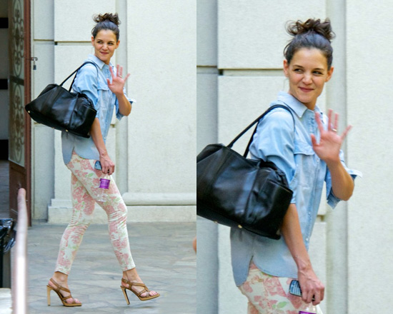 Katie Holmes leaving dance class in Current-Elliot Floral Printed Jeans