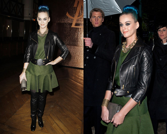 Katy Perry wearing Yves Saint Laurent Jacquard Dress in at Paris Fashion Week