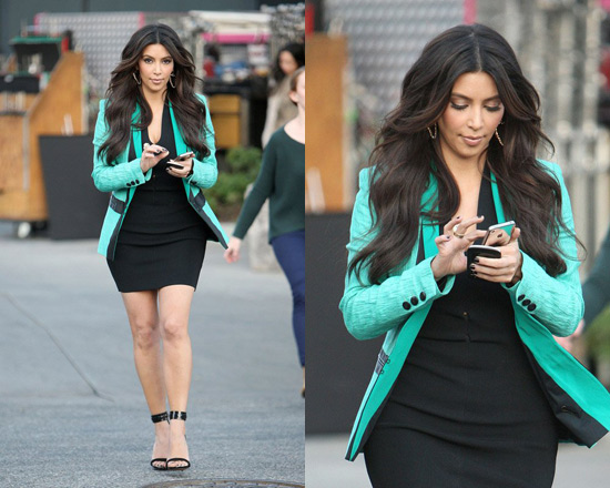 Kim Kardashian in Alexander Wang V-Neck Pointelle Detail Dress