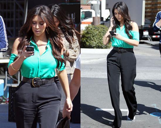 Kim Kardashian wearing Boulee Leo Open Shoulder Top
