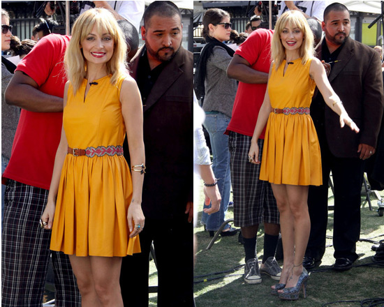 Nicole Richie promoting Fashion Star in Thakoon Leather Mini Dress