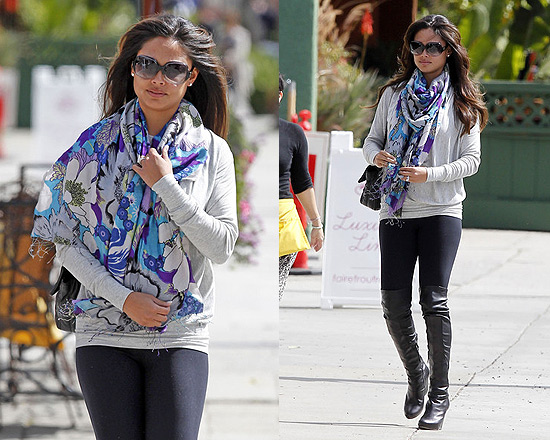 Vanessa Lachey wearing Tolani Reef Silk Scarf