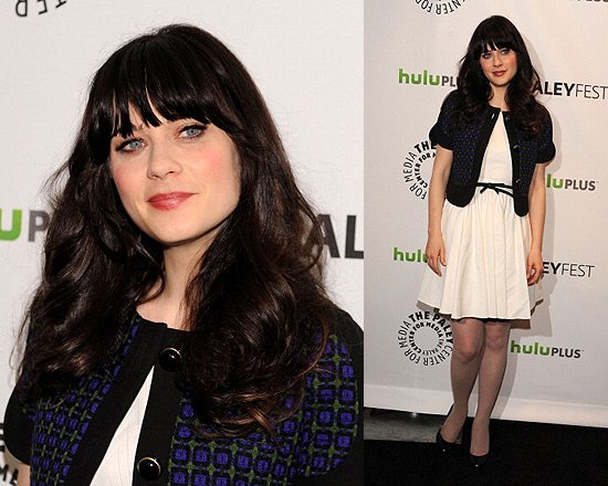Zooey Deschanel in Rachel Zoe Dress and Marni Sleeveless Jacket