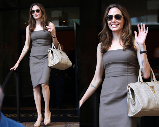Angelina Jolie in Michael Kors Stretch Crepe Sheath Dress