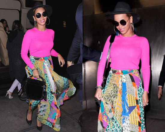 Beyoncé wearing Etro Abstract Maxi Skirt and Michael Kors Ribbed Cashmere Sweater