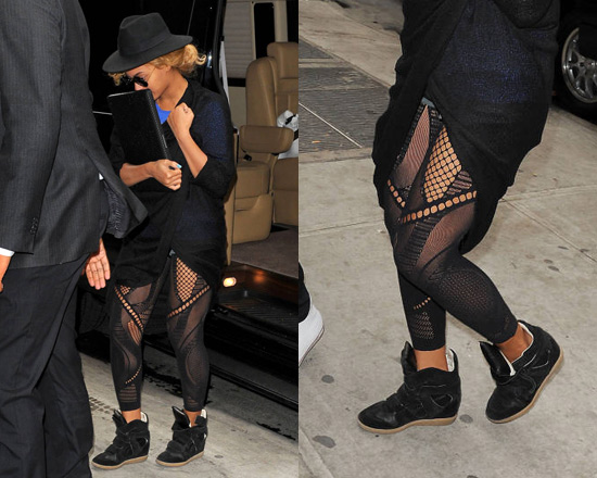 Beyonce wearing Mcq By Alexander Mcqueen Cut out mesh detail leggings