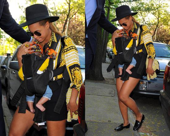 Beyonce wearing Versace Venetian print silk shirt