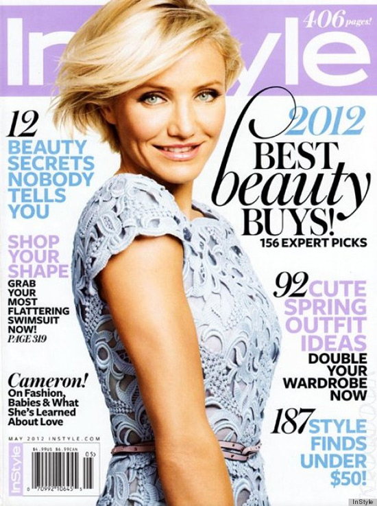 Cameron Diaz covers InStyle wearing Valentino Macaramé Lace Dress