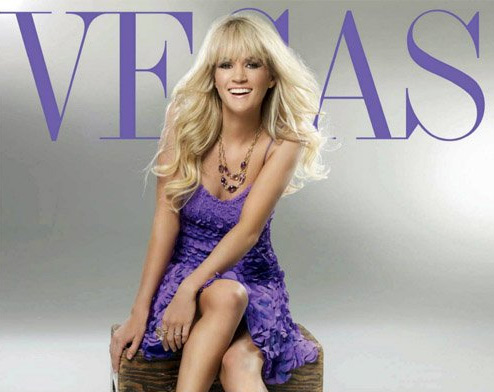 Carrie Underwood covers Vegas magazine in Theia Petal-Detail Cocktail Dress